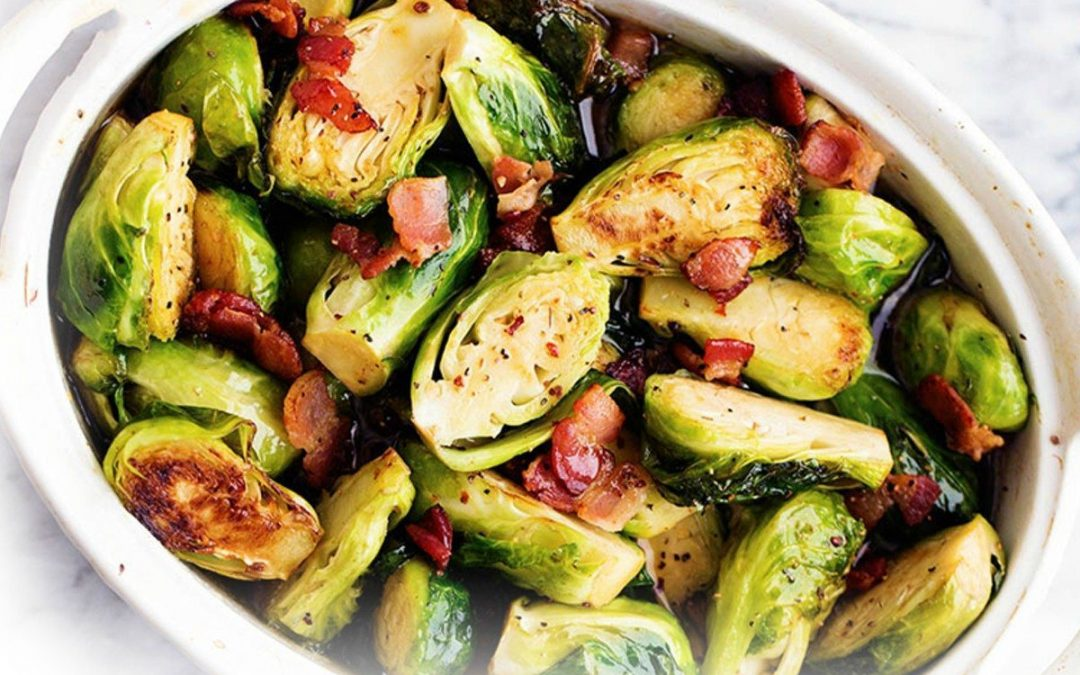 Maple Bacon Balsamic Brussel Sprouts