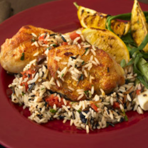 Spicy Apricot Chicken with Wild Rice