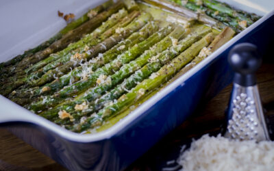 Basil Olive Oil & Strawberry Balsamic Roasted Asparagus with Parmesan Cheese